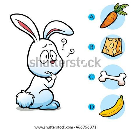 Vector Illustration of make the right choice connect animal with their food - Rabbit