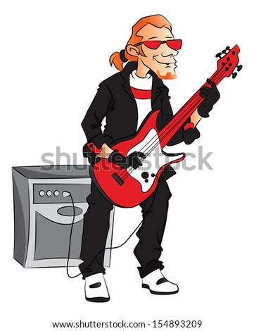 Vector illustration of male rockstar playing electric guitar. - stock vector
