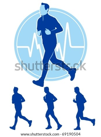 Vector illustration of male runner with pulse trace. - stock vector