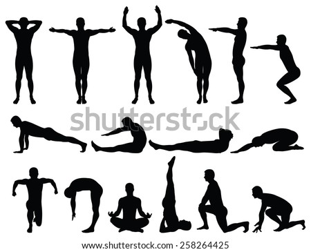 Vector illustration of male silhouettes fitness. - stock vector