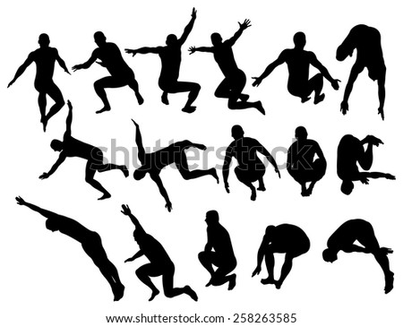 Vector illustration of male silhouettes jumping. - stock vector