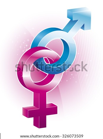Vector illustration of man and woman  gender symbol