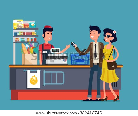 Vector illustration of man and wonam do shopping at supermarket. Flat design. - stock vector