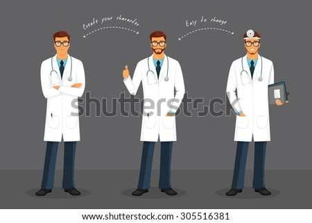 Vector illustration of Man doctor in various poses