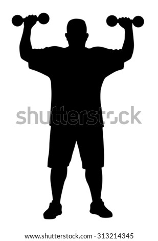 Vector illustration of man doing exercises silhouette - stock vector
