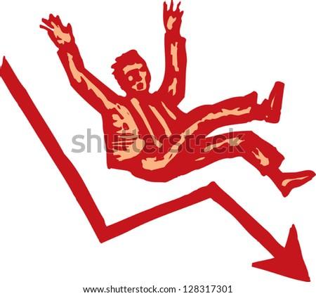 Vector illustration of man falling down - stock vector