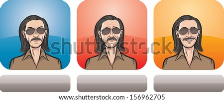 Vector illustration of man in sunglasses face in three expressions: neutral, sad and happy - head and shoulders composition. Layered vector EPS10 format file.