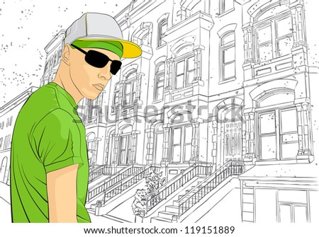 Vector illustration of man on town sketch background - stock vector