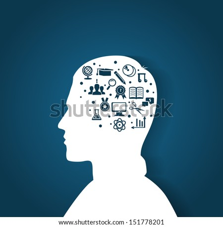 Vector illustration of Man's head with education icons - stock vector