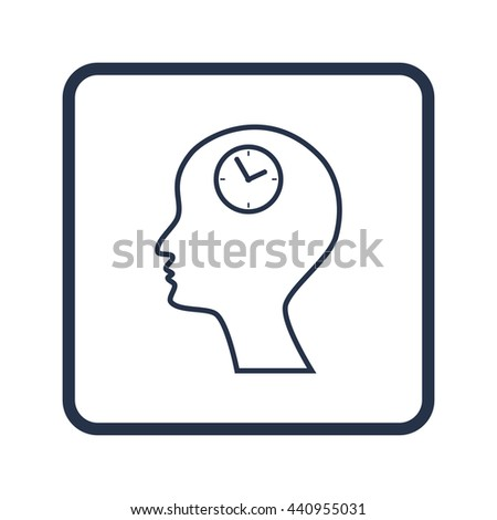 Vector illustration of man time sign icon on blue round background.