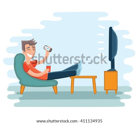 Vector illustration of man watching television on armchair. Tv and sitting in chair, drinking   - stock vector