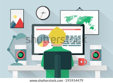 Vector illustration of man working in modern office workspace.Flat style. - stock vector