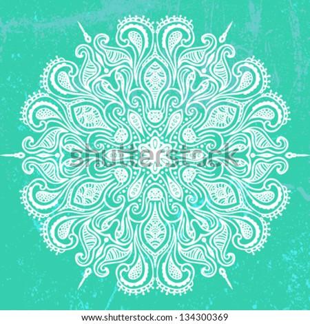 Vector illustration of mandala design in white on aqua green background. Concept image for card, yoga studio, meditation, spirituality,  Indian, Arabic or Thai cuisine restaurants ads, tattoo salon - stock vector