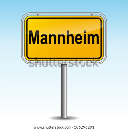 Vector illustration of mannheim signpost on sky background - stock vector