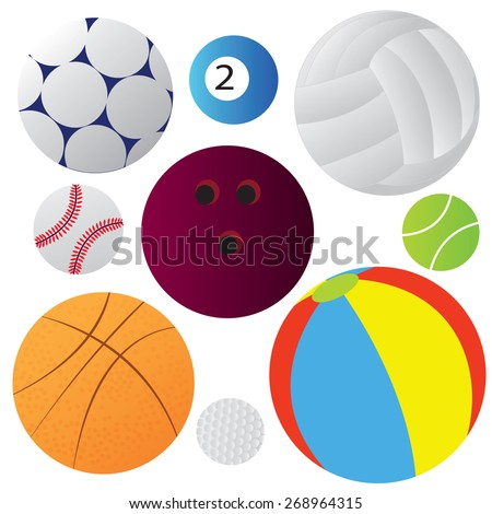 Vector illustration of many balls collection isolated on white - stock vector