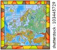 Vector illustration of map of Europe stained glass window with frame. - stock vector