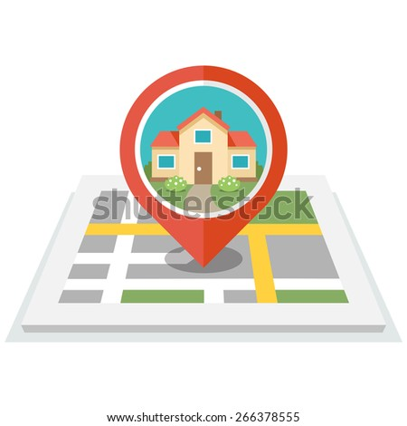 Vector illustration of map with pin and house in it. Flat design style. Isolated on white background. Eps 10. - stock vector