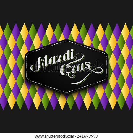 vector illustration of Mardi Gras or Shrove Tuesday lettering label on checkered background. Holiday poster or placard template - stock vector