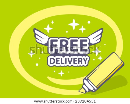 Vector illustration of marker drawing circle around free delivery on green background. Line art design for web, site, advertising, banner, poster, board and print. - stock vector
