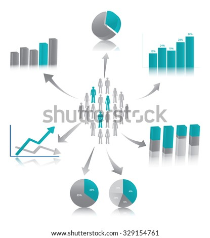 Vector illustration of market research, symbolized by population described through chart.  - stock vector
