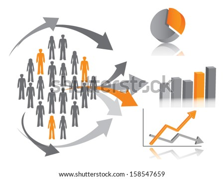 Vector illustration of market research, symbolized by population (or consumers) described through chart. - stock vector