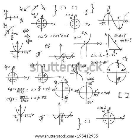 Vector illustration of mathematics doodle background.