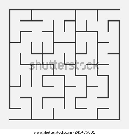 Vector illustration of maze / labyrinth. Isolated on white background, eps 8. - stock vector