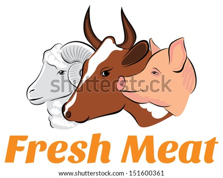 Vector Illustration of meat animals emblem and logo - stock vector