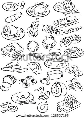 vector illustration of meat collection in black and white - stock vector