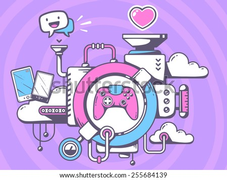 Vector illustration of mechanism to play  joystick and relevant icons on pattern background. Line art design for web, site, advertising, banner, poster, board and print. - stock vector
