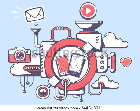 Vector illustration of mechanism to use phone and relevant icons on gray background. Line art design for web, site, advertising, banner, poster, board and print. - stock vector
