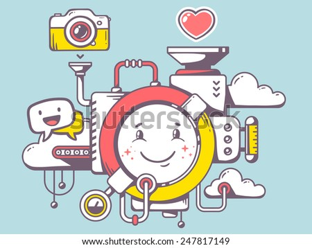 Vector illustration of mechanism with smile and relevant icons on blue background. Line art design for web, site, advertising, banner, poster, board and print. - stock vector