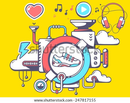 Vector illustration of mechanism with sneaker and relevant icons on yellow background. Line art design for web, site, advertising, banner, poster, board and print. - stock vector