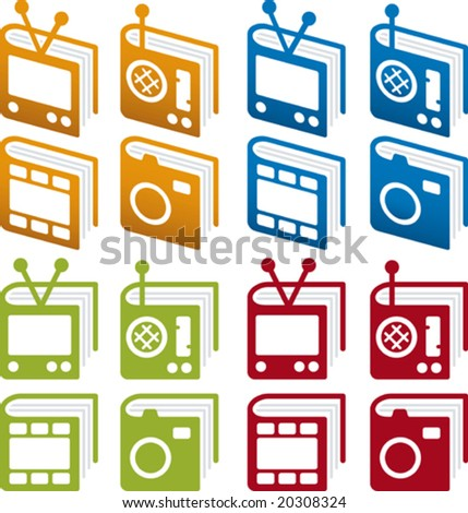 Vector illustration of media books icon set, in perspective and plain. Easy color changes. CMYK. Only global colors.