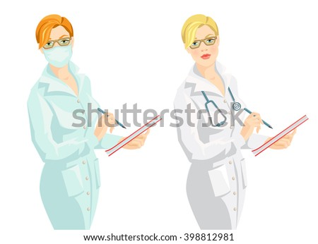 vector illustration of medic woman in medical gown and mask wrote in the document. A Redhead woman in medical gown and mask isolated on white background. A blond woman doctor with stethoscope - stock vector