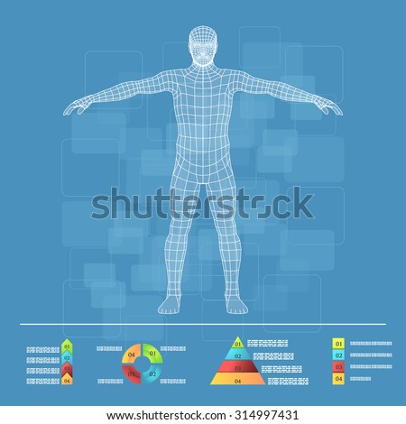 Vector illustration of medicine infographics. Schematic description of the human body. - stock vector