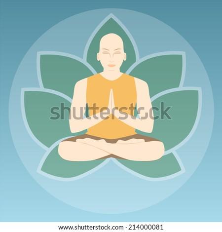 Vector illustration of meditation - stock vector