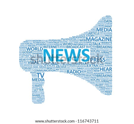 Vector illustration of megaphone symbol made up of various news words. Isolated on white. - stock vector