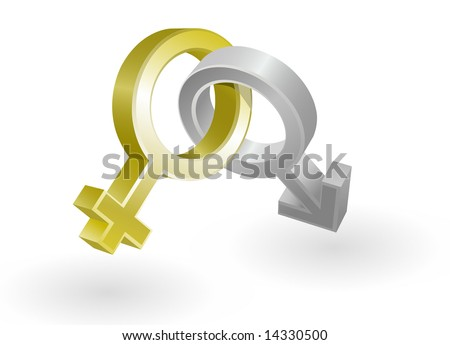 Vector illustration of men and women gold and silver icons