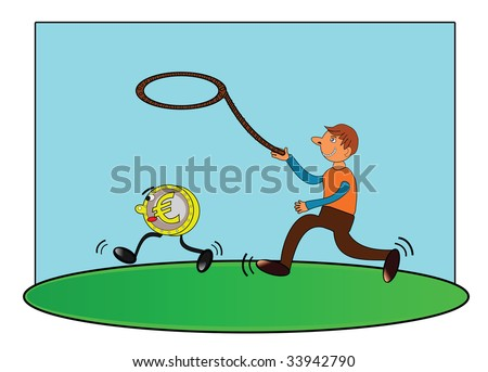 Vector illustration of men catching money(euro coin).
