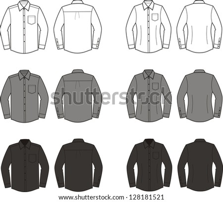 Vector illustration of men's and women's business shirts. Different colors: white, grey, black. Front and back views - stock vector