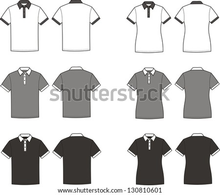 Vector illustration of men's and women's polo t-shirts. Different colors: white, grey, black. Front and back views - stock vector