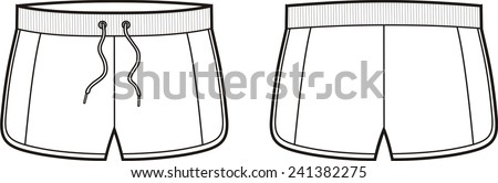 Vector illustration of men's and women's sport shorts. Front and back views - stock vector