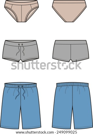 Vector illustration of men's swimming trunks. Front and back views - stock vector