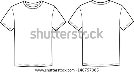 Vector illustration of men's t-shirt. Front and back views - stock vector