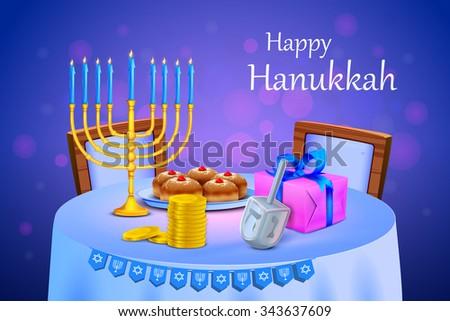 vector illustration of menorah and gift in Israel festival Happy Hanukkah background - stock vector