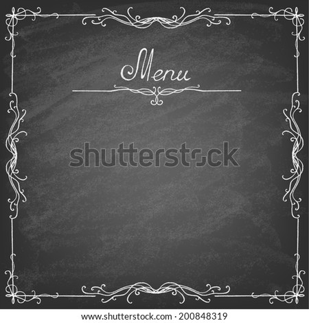 Vector illustration of menu written on chalkboard. Retro vintage style. - stock vector