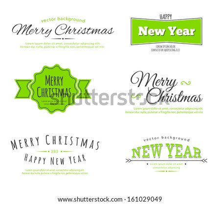 Vector illustration of Merry Christmas type - stock vector