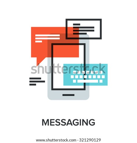 Vector illustration of messaging flat line design concept. - stock vector