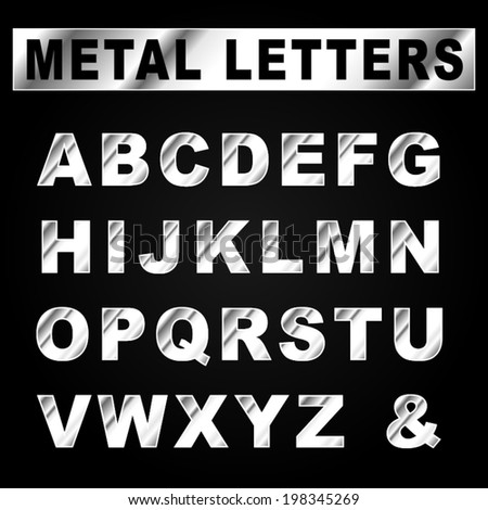 Vector illustration of metal letters set on black background - stock vector